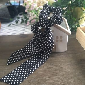 Polka dot tail hair scrunchie
